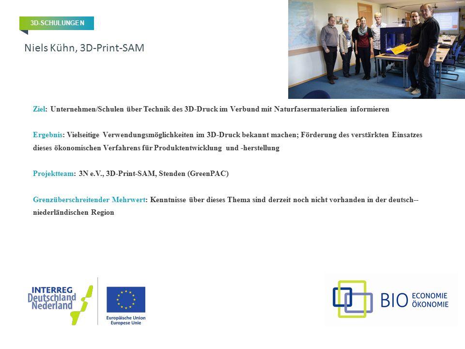 Ziel: Unternehmen/Schulen über Technik des 3D-Druck im Verbund mit Naturfasermaterialien informieren Ergebnis: Vielseitige Verwendungsmöglichkeiten im