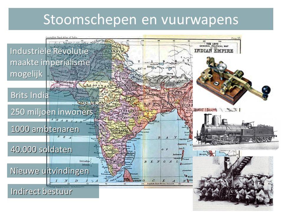 Brits India 250 miljoen inwoners 1000 ambtenaren 40.000 soldaten Nieuwe uitvindingen Indirect bestuur Stoomschepen en vuurwapens Industriële Revolutie