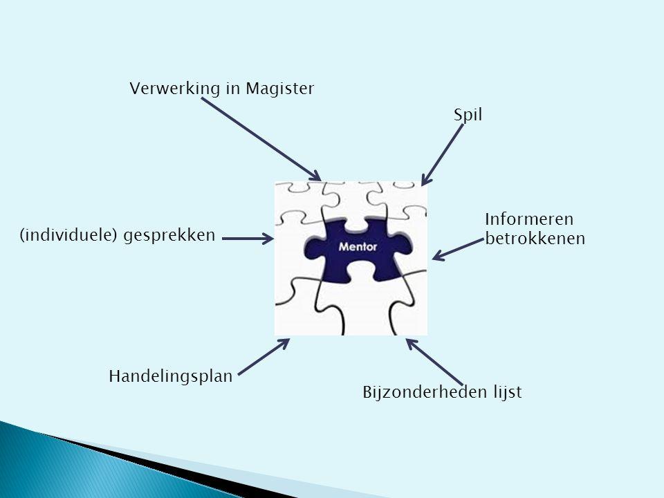 Spil Informeren betrokkenen Bijzonderheden lijst Handelingsplan (individuele) gesprekken Verwerking in Magister