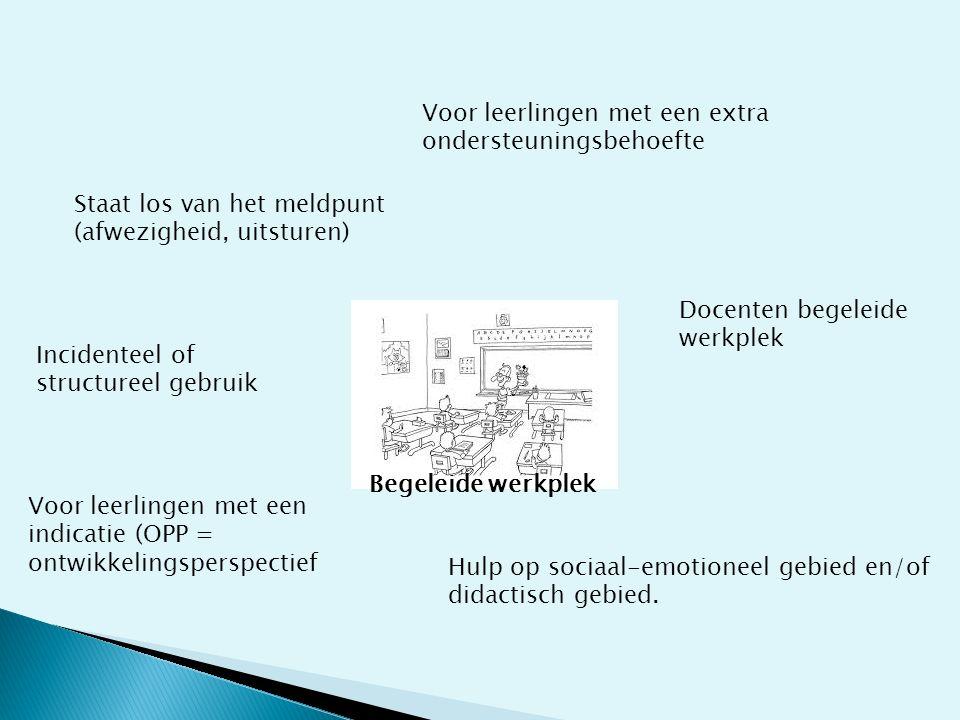 Begeleide werkplek Voor leerlingen met een extra ondersteuningsbehoefte Docenten begeleide werkplek Hulp op sociaal-emotioneel gebied en/of didactisch gebied.