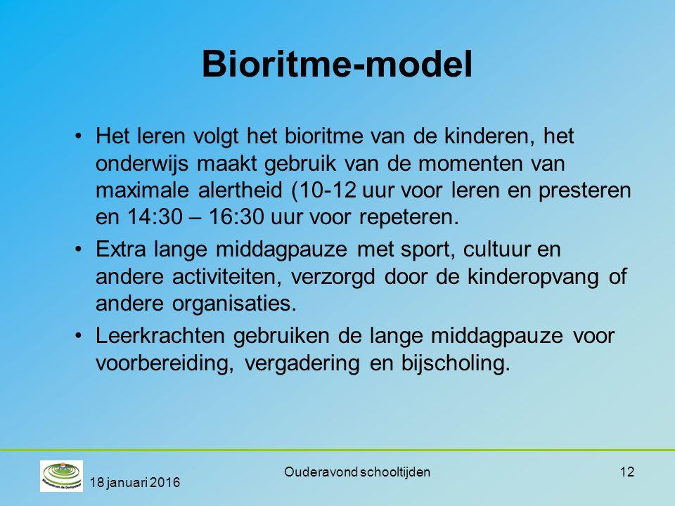Bioritme-model Het leren volgt het bioritme van de kinderen, het onderwijs maakt gebruik van de momenten van maximale alertheid (10-12 uur voor leren en presteren en 14:30 – 16:30 uur voor repeteren.