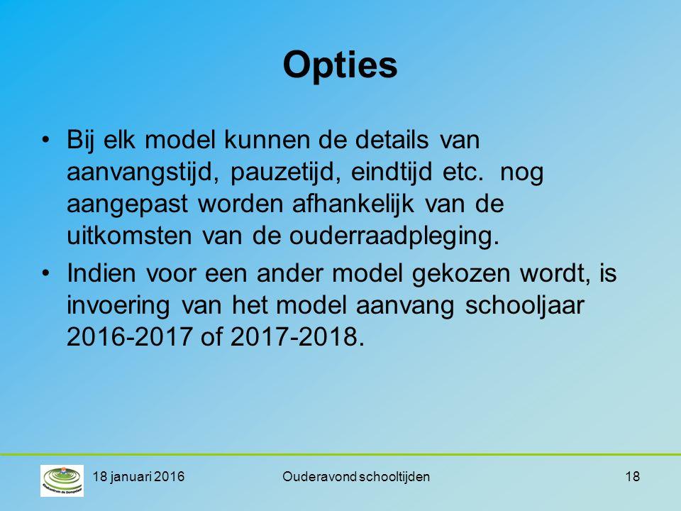 Opties Bij elk model kunnen de details van aanvangstijd, pauzetijd, eindtijd etc.