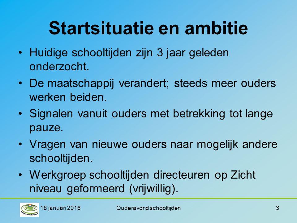Startsituatie en ambitie Huidige schooltijden zijn 3 jaar geleden onderzocht. De maatschappij verandert; steeds meer ouders werken beiden. Signalen va