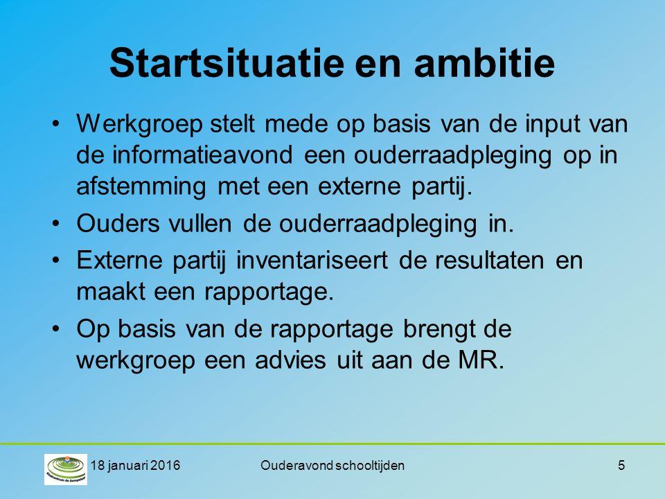 Startsituatie en ambitie Werkgroep stelt mede op basis van de input van de informatieavond een ouderraadpleging op in afstemming met een externe partij.