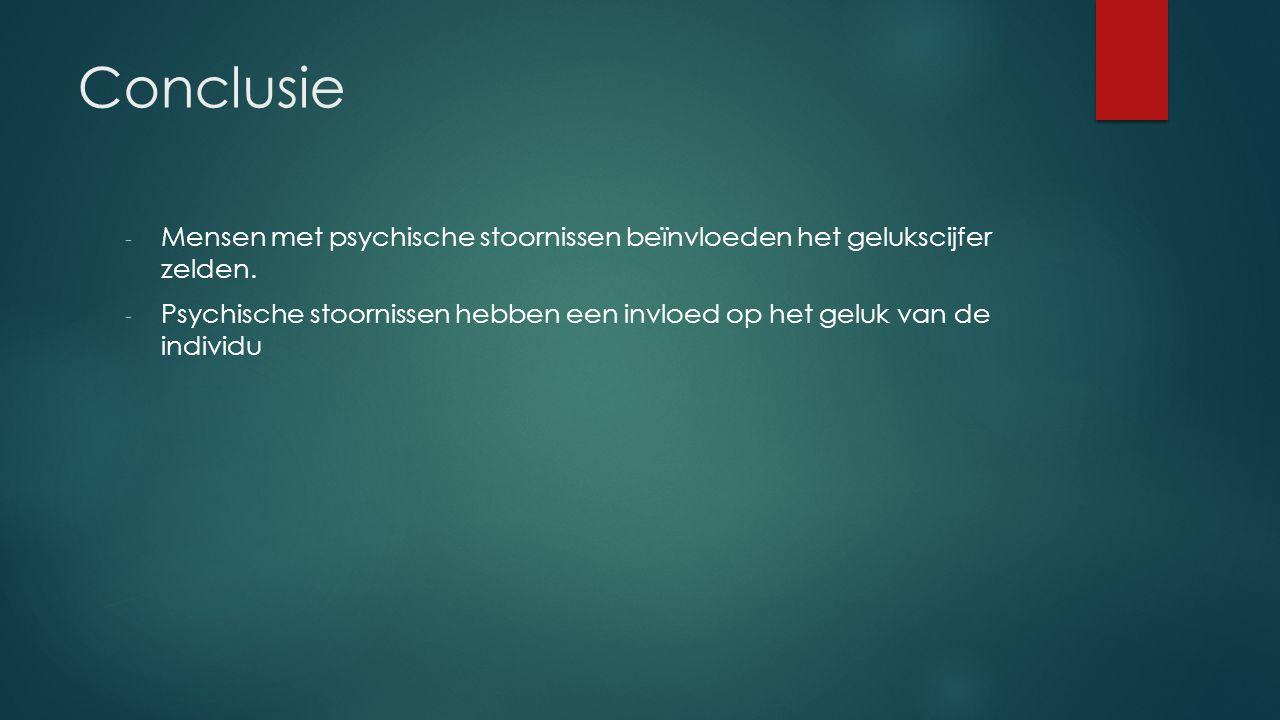 Conclusie - Mensen met psychische stoornissen beïnvloeden het gelukscijfer zelden.