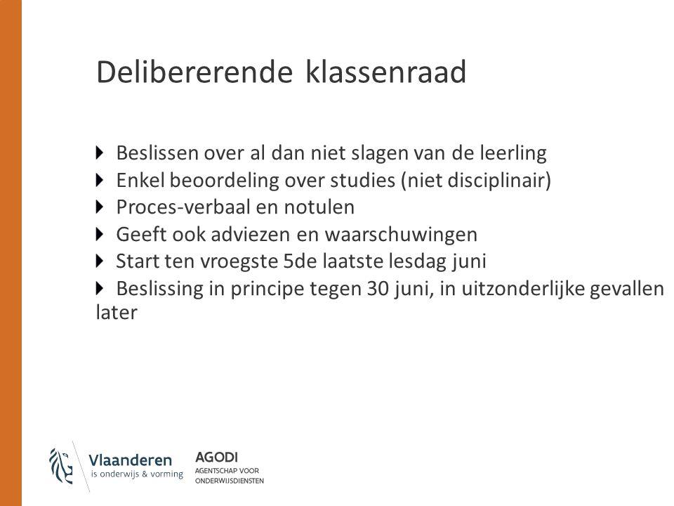 Delibererende klassenraad Beslissen over al dan niet slagen van de leerling Enkel beoordeling over studies (niet disciplinair) Proces-verbaal en notul