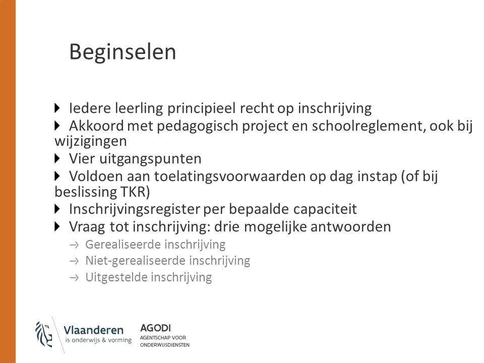 Beginselen Iedere leerling principieel recht op inschrijving Akkoord met pedagogisch project en schoolreglement, ook bij wijzigingen Vier uitgangspunt