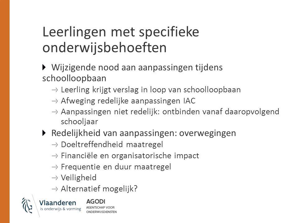 Leerlingen met specifieke onderwijsbehoeften Wijzigende nood aan aanpassingen tijdens schoolloopbaan Leerling krijgt verslag in loop van schoolloopbaa