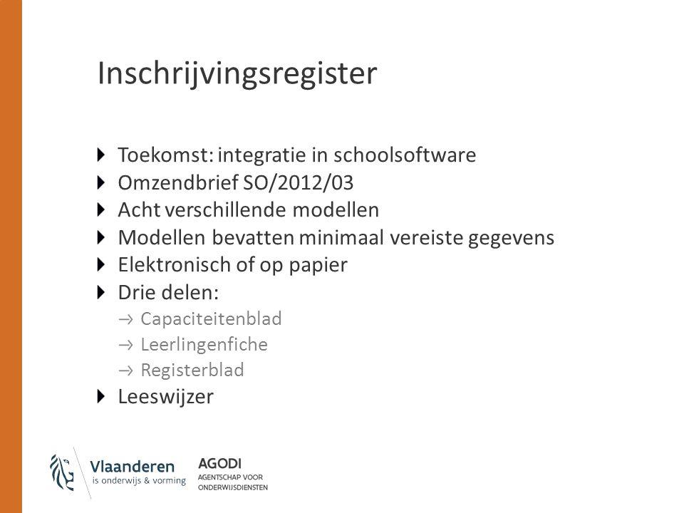 Inschrijvingsregister Toekomst: integratie in schoolsoftware Omzendbrief SO/2012/03 Acht verschillende modellen Modellen bevatten minimaal vereiste ge