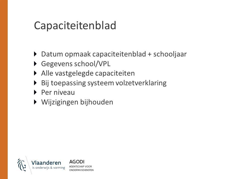 Capaciteitenblad Datum opmaak capaciteitenblad + schooljaar Gegevens school/VPL Alle vastgelegde capaciteiten Bij toepassing systeem volzetverklaring