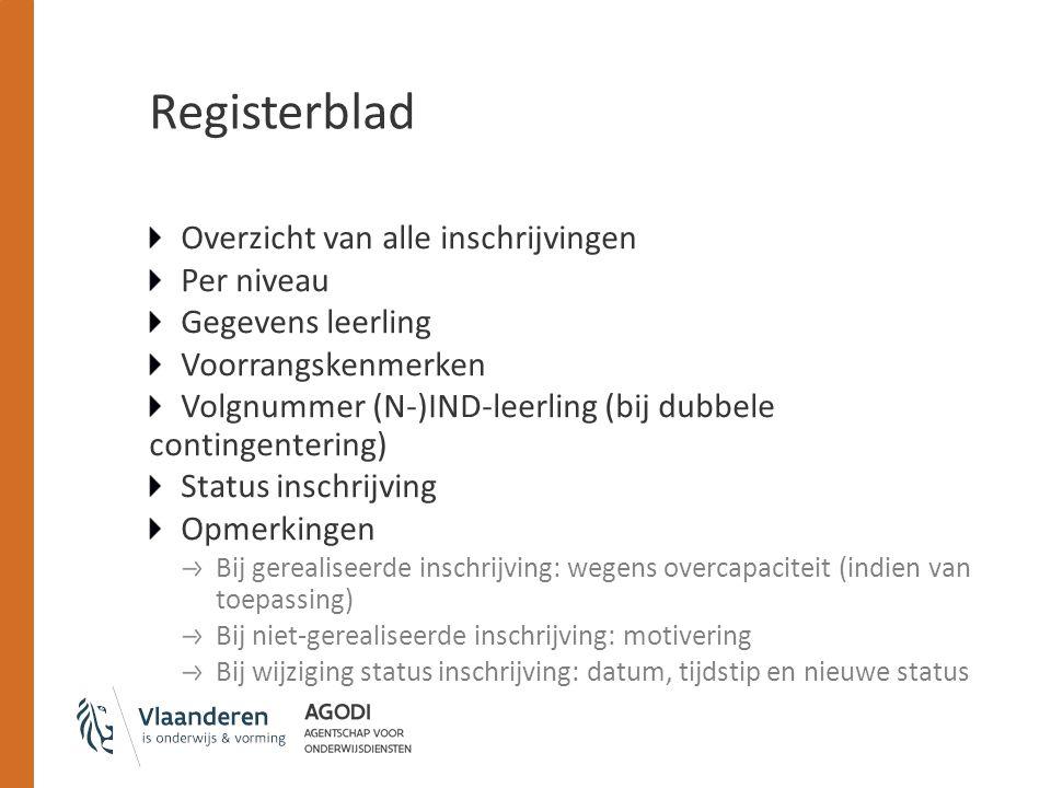 Registerblad Overzicht van alle inschrijvingen Per niveau Gegevens leerling Voorrangskenmerken Volgnummer (N-)IND-leerling (bij dubbele contingenterin