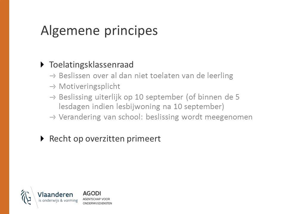 Algemene principes Toelatingsklassenraad Beslissen over al dan niet toelaten van de leerling Motiveringsplicht Beslissing uiterlijk op 10 september (o