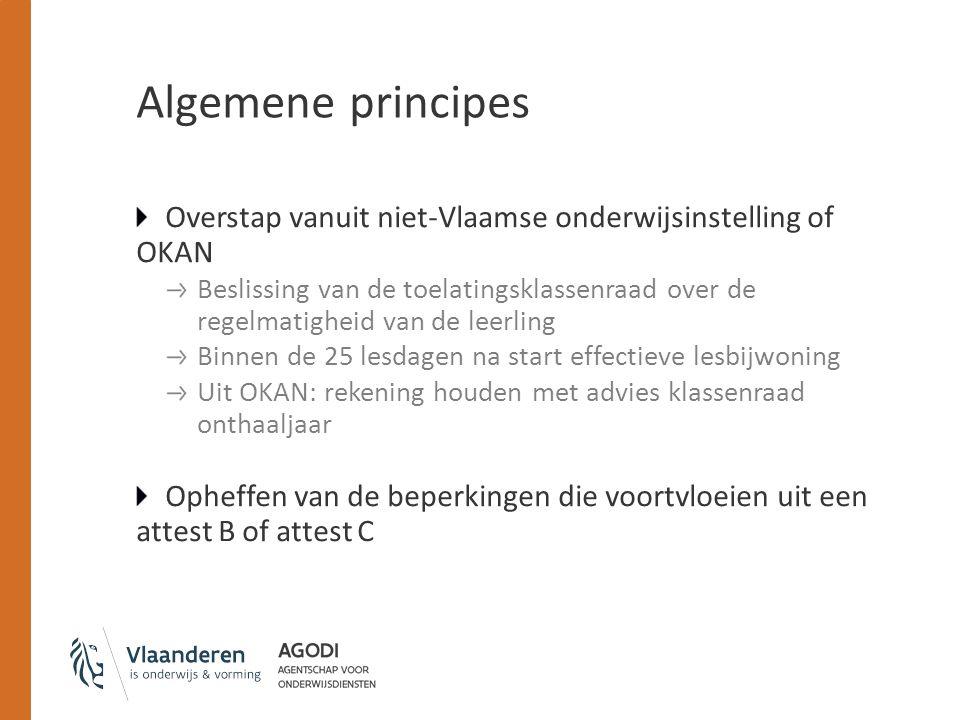 Algemene principes Overstap vanuit niet-Vlaamse onderwijsinstelling of OKAN Beslissing van de toelatingsklassenraad over de regelmatigheid van de leer