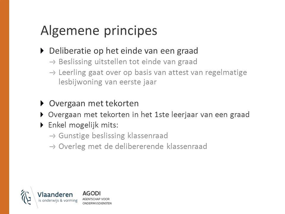 Algemene principes Deliberatie op het einde van een graad Beslissing uitstellen tot einde van graad Leerling gaat over op basis van attest van regelma