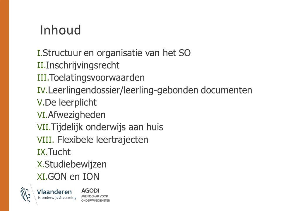 Inhoud I. Structuur en organisatie van het SO II. Inschrijvingsrecht III. Toelatingsvoorwaarden IV. Leerlingendossier/leerling-gebonden documenten V.