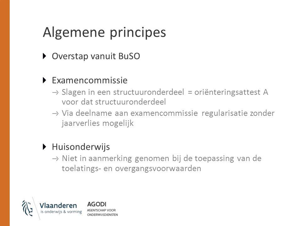 Algemene principes Overstap vanuit BuSO Examencommissie Slagen in een structuuronderdeel = oriënteringsattest A voor dat structuuronderdeel Via deelna