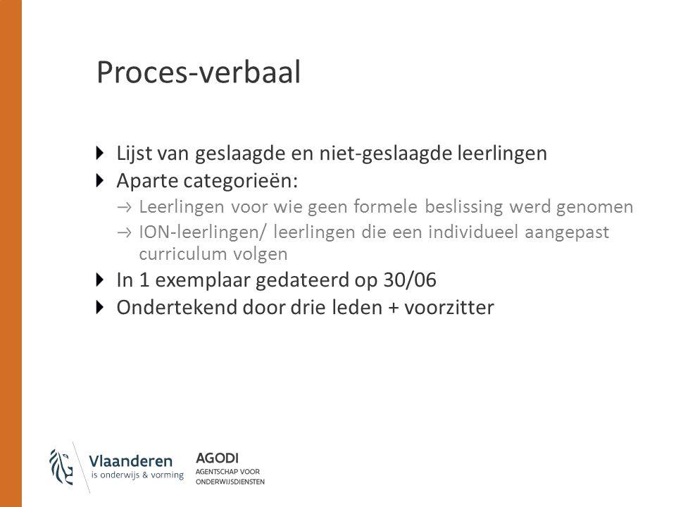 Proces-verbaal Lijst van geslaagde en niet-geslaagde leerlingen Aparte categorieën: Leerlingen voor wie geen formele beslissing werd genomen ION-leerl