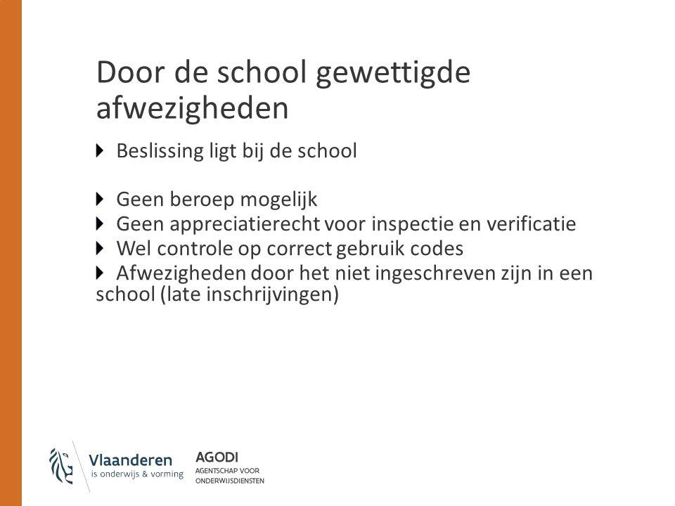 Door de school gewettigde afwezigheden Beslissing ligt bij de school Geen beroep mogelijk Geen appreciatierecht voor inspectie en verificatie Wel cont