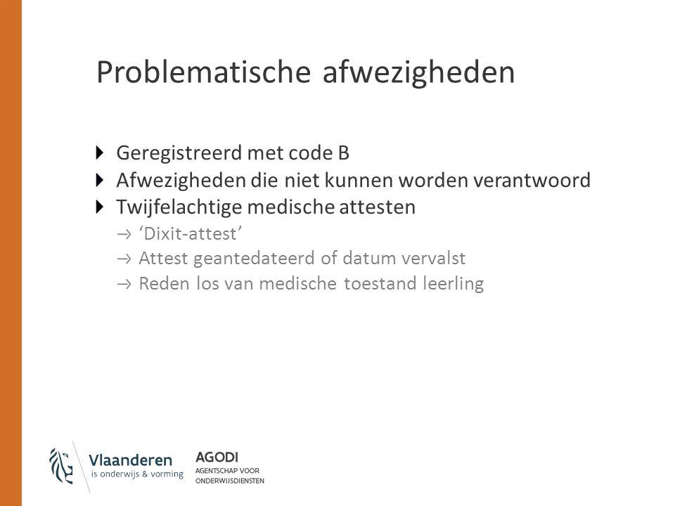 Problematische afwezigheden Geregistreerd met code B Afwezigheden die niet kunnen worden verantwoord Twijfelachtige medische attesten 'Dixit-attest' A