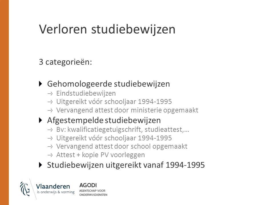 Verloren studiebewijzen 3 categorieën: Gehomologeerde studiebewijzen Eindstudiebewijzen Uitgereikt vóór schooljaar 1994-1995 Vervangend attest door mi