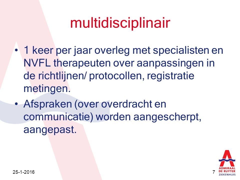 multidisciplinair 1 keer per jaar overleg met specialisten en NVFL therapeuten over aanpassingen in de richtlijnen/ protocollen, registratie metingen.