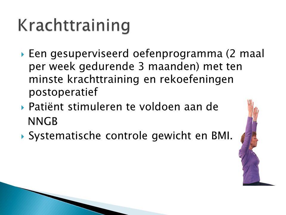  Een gesuperviseerd oefenprogramma (2 maal per week gedurende 3 maanden) met ten minste krachttraining en rekoefeningen postoperatief  Patiënt stimuleren te voldoen aan de NNGB  Systematische controle gewicht en BMI.