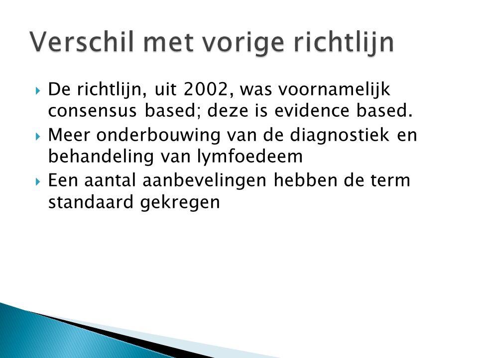  De richtlijn, uit 2002, was voornamelijk consensus based; deze is evidence based.