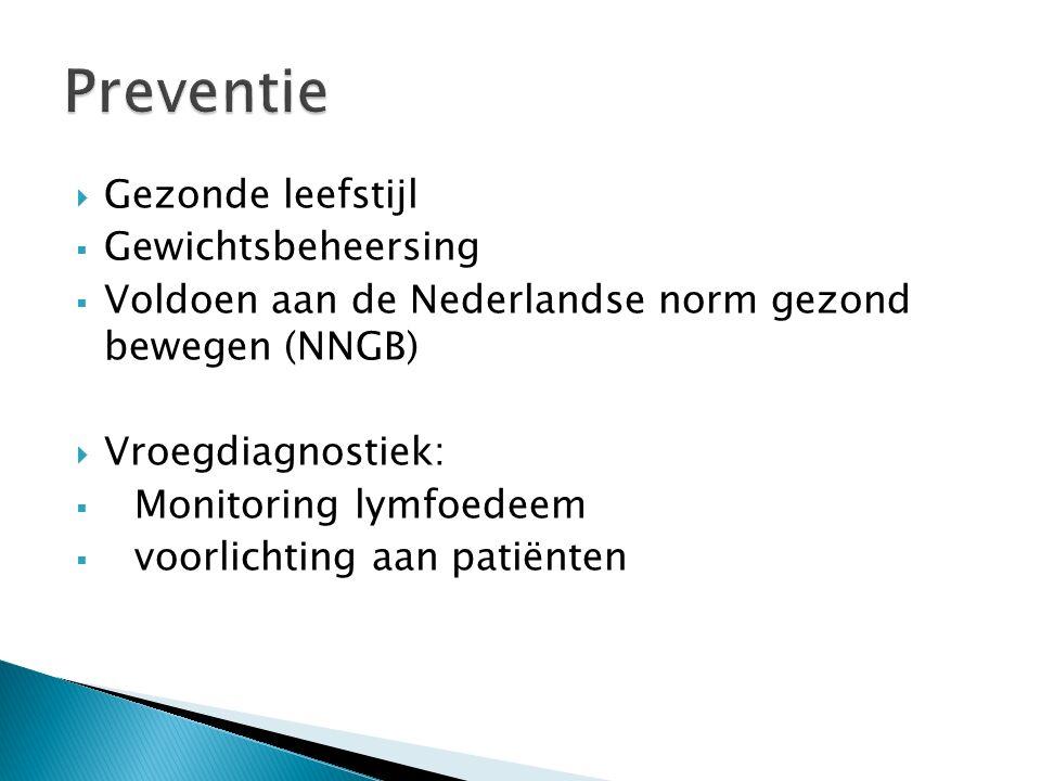  Gezonde leefstijl  Gewichtsbeheersing  Voldoen aan de Nederlandse norm gezond bewegen (NNGB)  Vroegdiagnostiek:  Monitoring lymfoedeem  voorlichting aan patiënten