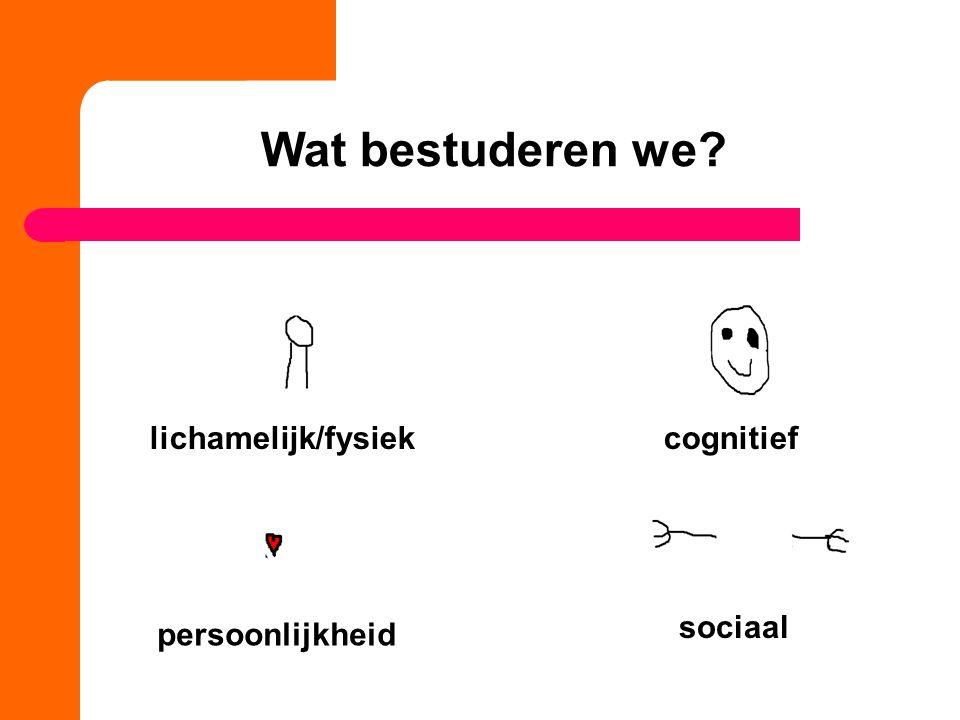 lichamelijk/fysiekcognitief sociaal persoonlijkheid Wat bestuderen we