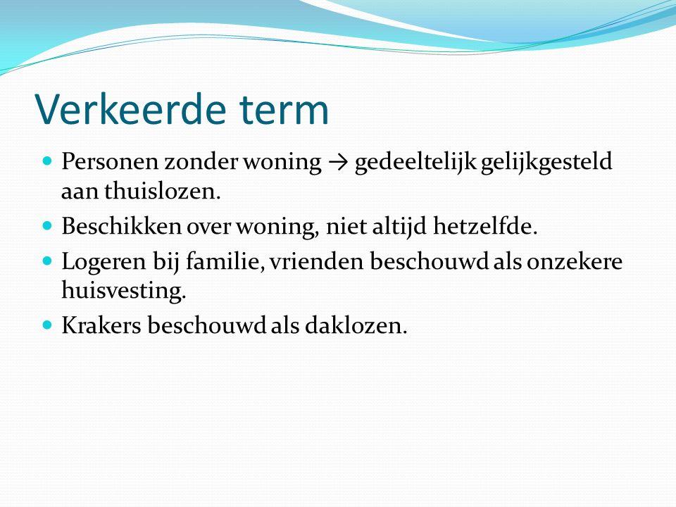 Verkeerde term Personen zonder woning → gedeeltelijk gelijkgesteld aan thuislozen.