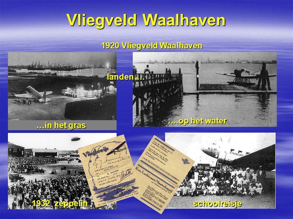 Vliegveld Waalhaven 1920 Vliegveld Waalhaven landen…. …in het gras ….op het water 1932 zeppelin schoolreisje