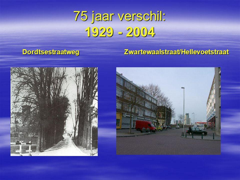 75 jaar verschil: 1929 - 2004 Dordtsestraatweg Zwartewaalstraat/Hellevoetstraat