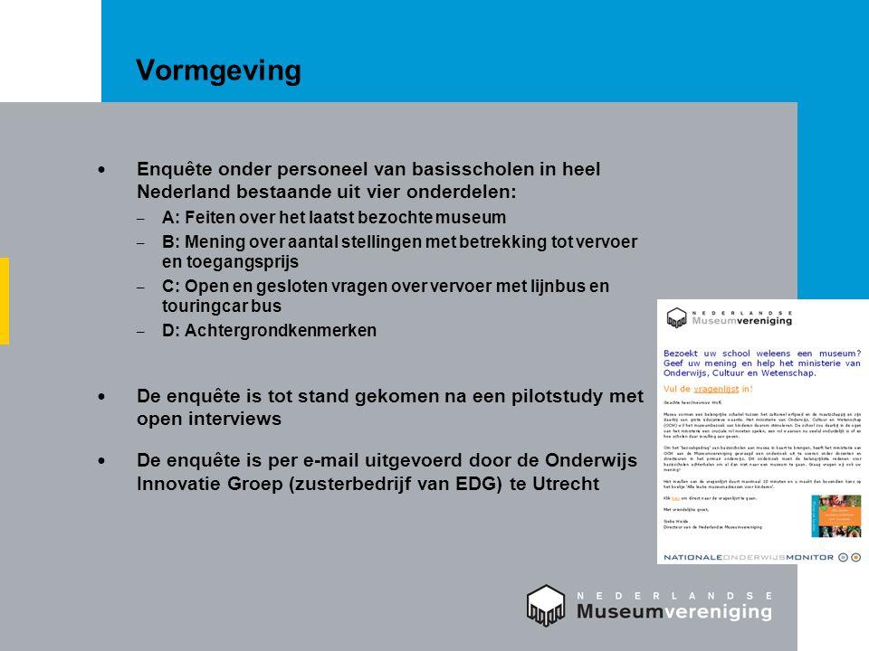 Vormgeving Enquête onder personeel van basisscholen in heel Nederland bestaande uit vier onderdelen: – A: Feiten over het laatst bezochte museum – B:
