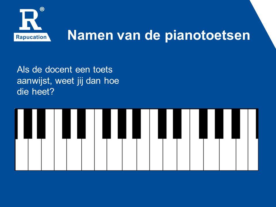 Namen van de pianotoetsen Als de docent een toets aanwijst, weet jij dan hoe die heet?