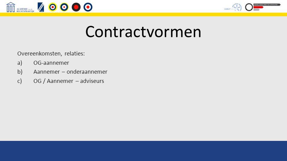 Contractvormen Overeenkomsten, relaties: a)OG-aannemer b)Aannemer – onderaannemer c)OG / Aannemer – adviseurs