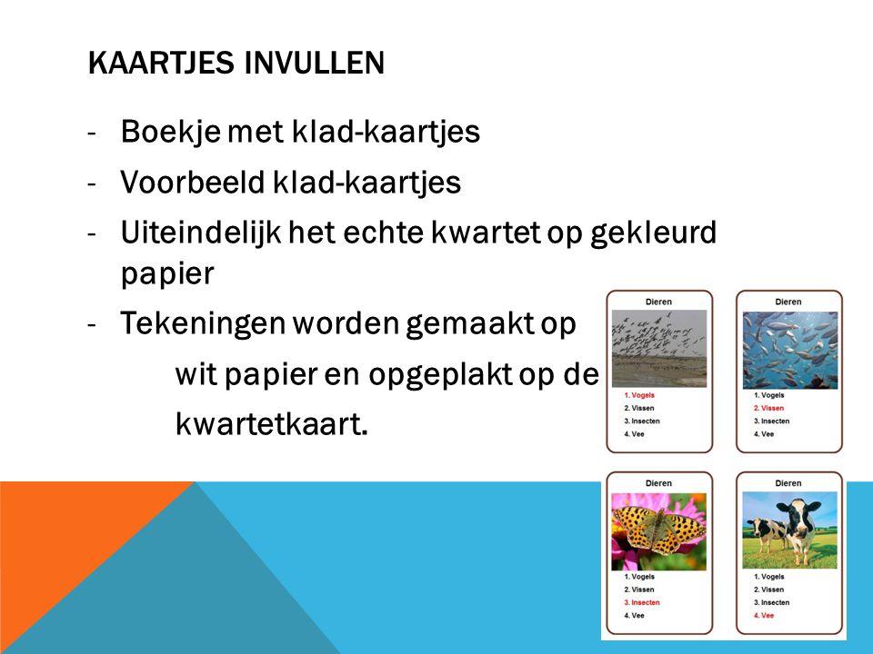 KAARTJES INVULLEN -Boekje met klad-kaartjes -Voorbeeld klad-kaartjes -Uiteindelijk het echte kwartet op gekleurd papier -Tekeningen worden gemaakt op