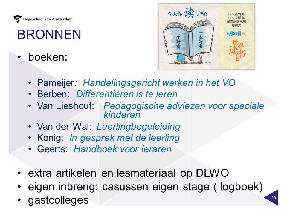 BRONNEN boeken: Pameijer: Handelingsgericht werken in het VO Berben: Differentiëren is te leren Van Lieshout: Pedagogische adviezen voor speciale kind