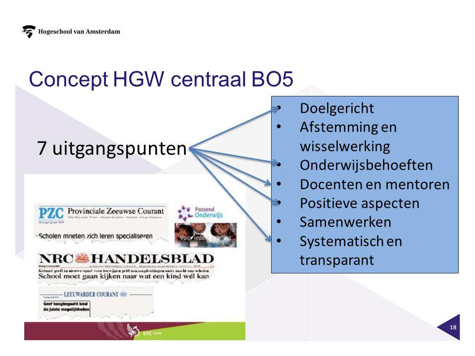 Concept HGW centraal BO5 18 7 uitgangspunten Doelgericht Afstemming en wisselwerking Onderwijsbehoeften Docenten en mentoren Positieve aspecten Samenw