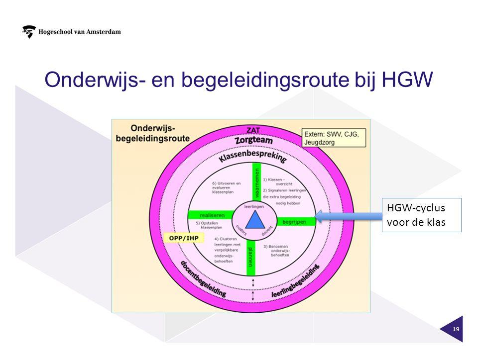 Onderwijs- en begeleidingsroute bij HGW 19 HGW-cyclus voor de klas