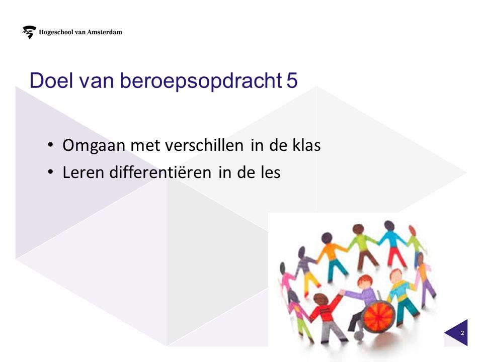 Doel van beroepsopdracht 5 Omgaan met verschillen in de klas Leren differentiëren in de les 2