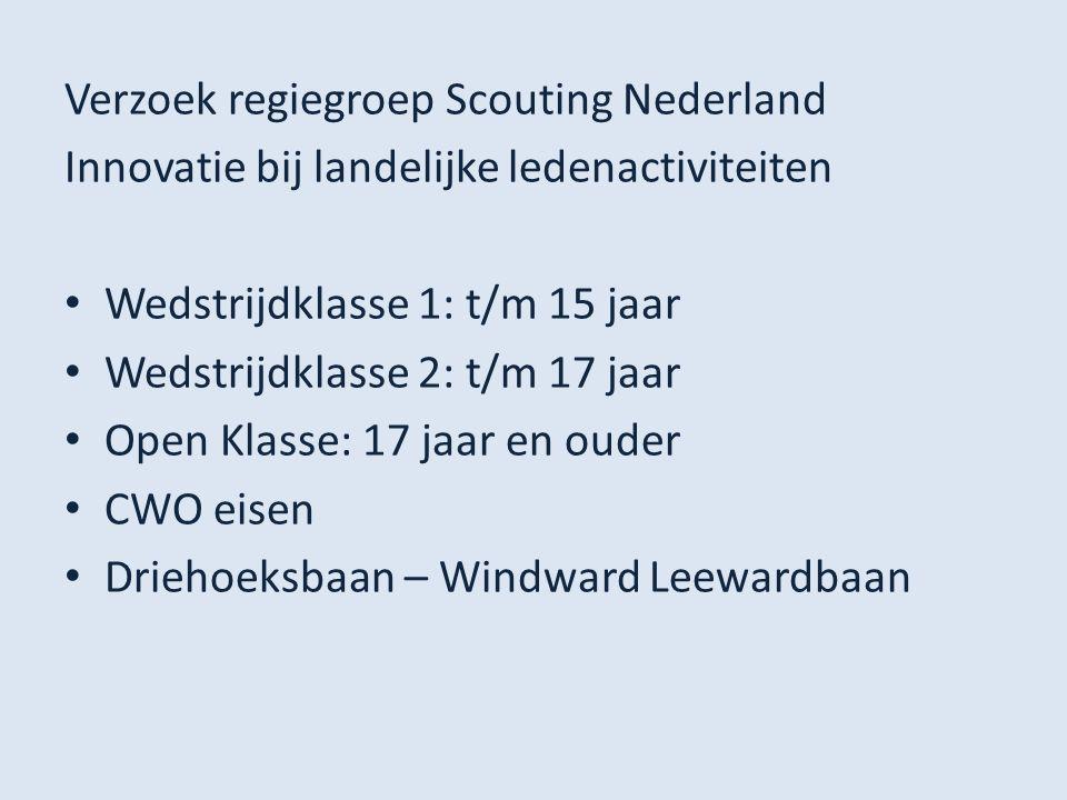 Verzoek regiegroep Scouting Nederland Innovatie bij landelijke ledenactiviteiten Wedstrijdklasse 1: t/m 15 jaar Wedstrijdklasse 2: t/m 17 jaar Open Kl