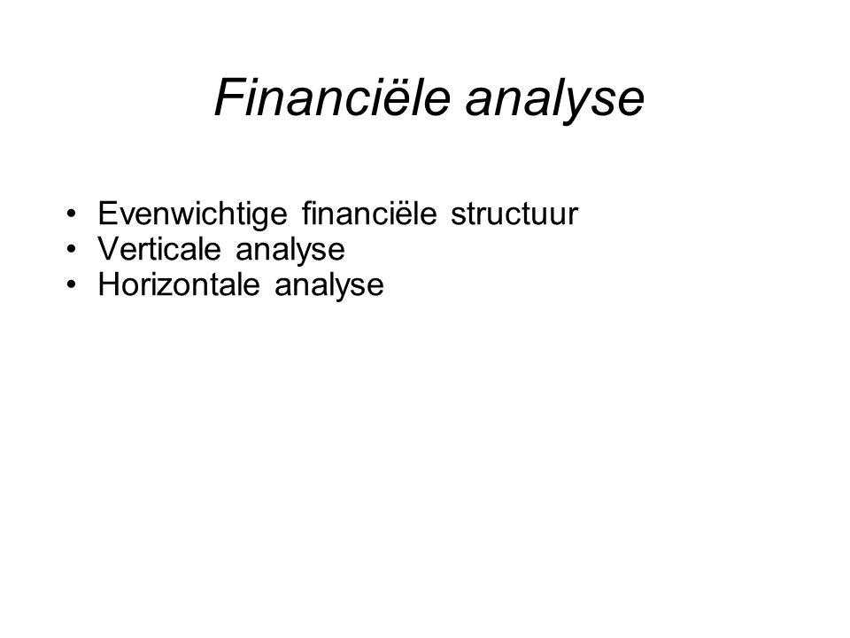 Evenwichtige financiële structuur –Vermogensbronnen aanpassen aan het gebruik –Financieringsmiddelen van gelijke duur NIET : met kortlopende kredieten gebouwen of machines financieren –Voldoende financiële zekerheidsmarge Bv.