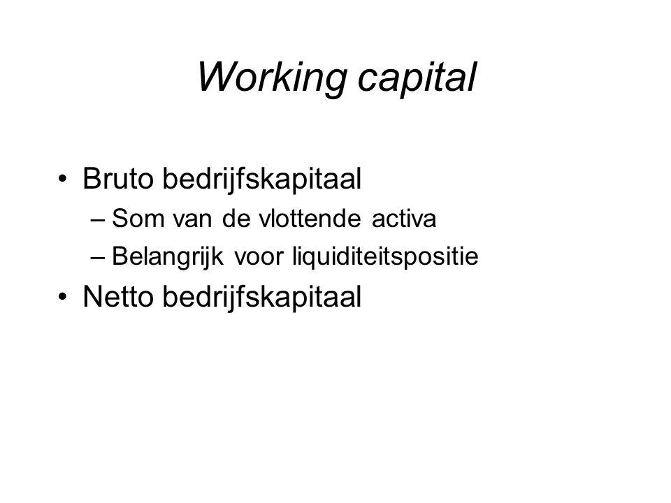 Netto bedrijfskapitaal NBK= vlottende activa – vreemd vermogen op korte termijn En aangezien :Actief = Passief Vlot.