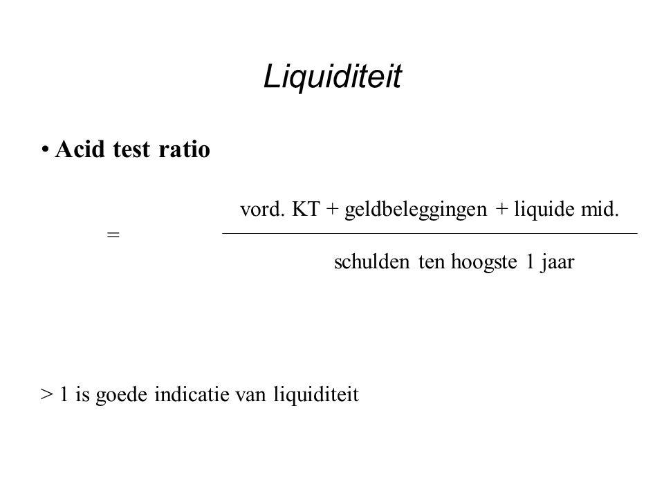 Voorraadrotatie kost der verkochte goederen = voorraden en BIU 365  = gemiddelde voorraadperiode voorraadrotatie NB: Berekening: Kost der verkochte goederen = aankoop goederen + voorraadwijziging Liquiditeit
