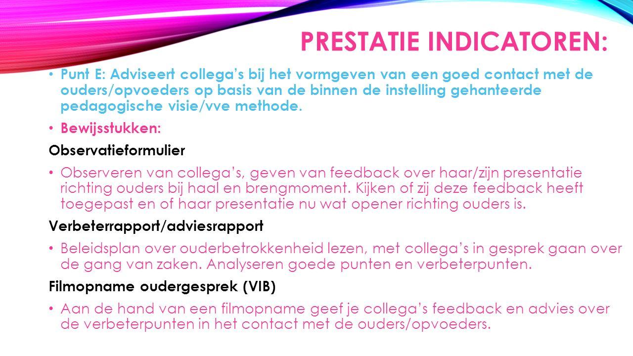 PRESTATIE INDICATOREN: Punt E: Adviseert collega's bij het vormgeven van een goed contact met de ouders/opvoeders op basis van de binnen de instelling gehanteerde pedagogische visie/vve methode.