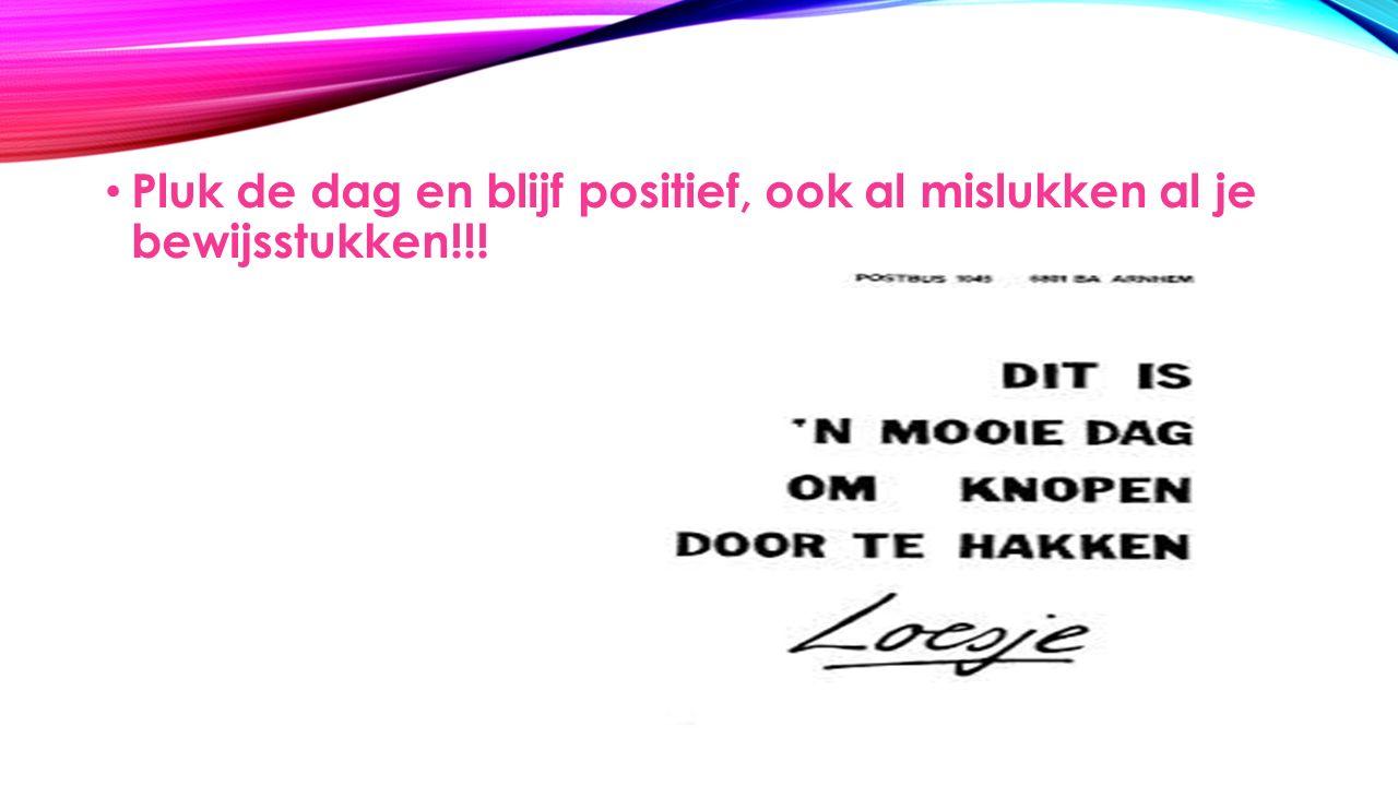 Pluk de dag en blijf positief, ook al mislukken al je bewijsstukken!!!