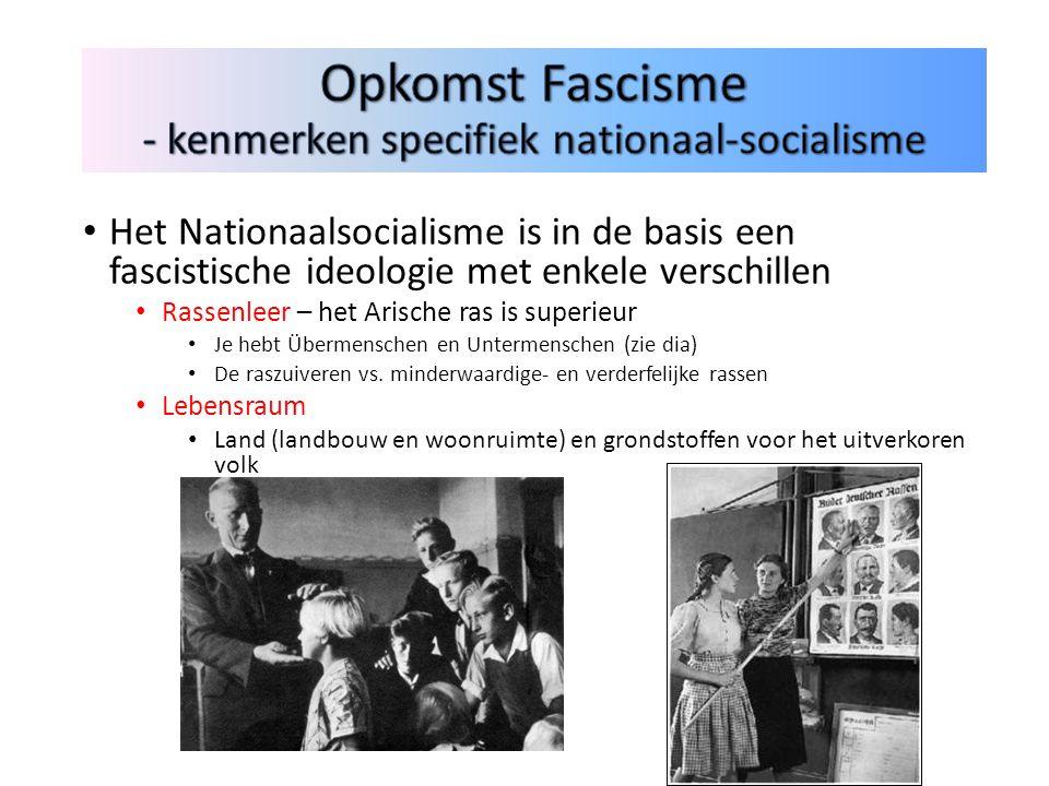 Het Nationaalsocialisme is in de basis een fascistische ideologie met enkele verschillen Rassenleer – het Arische ras is superieur Je hebt Übermenschen en Untermenschen (zie dia) De raszuiveren vs.