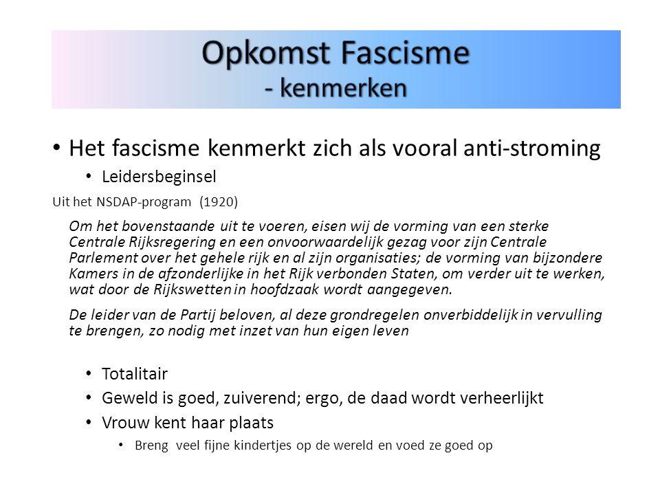 Het fascisme kenmerkt zich als vooral anti-stroming Leidersbeginsel Uit het NSDAP-program (1920) Om het bovenstaande uit te voeren, eisen wij de vormi