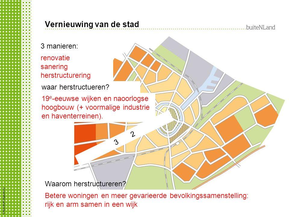 Vernieuwing van de stad 3 manieren: renovatie sanering herstructurering waar herstructueren?....5.......4…..3……2……..1.............…..3……2…….. 19 e -ee