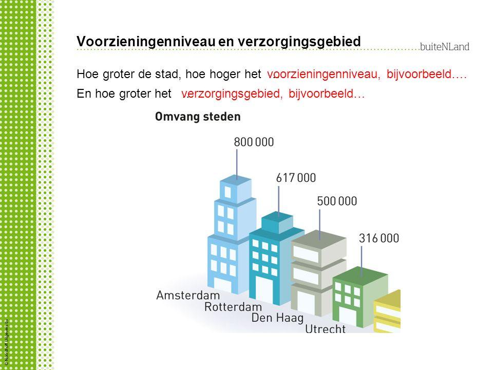 Voorzieningenniveau en verzorgingsgebied Hoe groter de stad, hoe hoger het … voorzieningenniveau, bijvoorbeeld…. En hoe groter het …verzorgingsgebied,